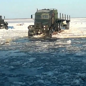 Ukranian icebraker Truck KraZ on the siberian roads