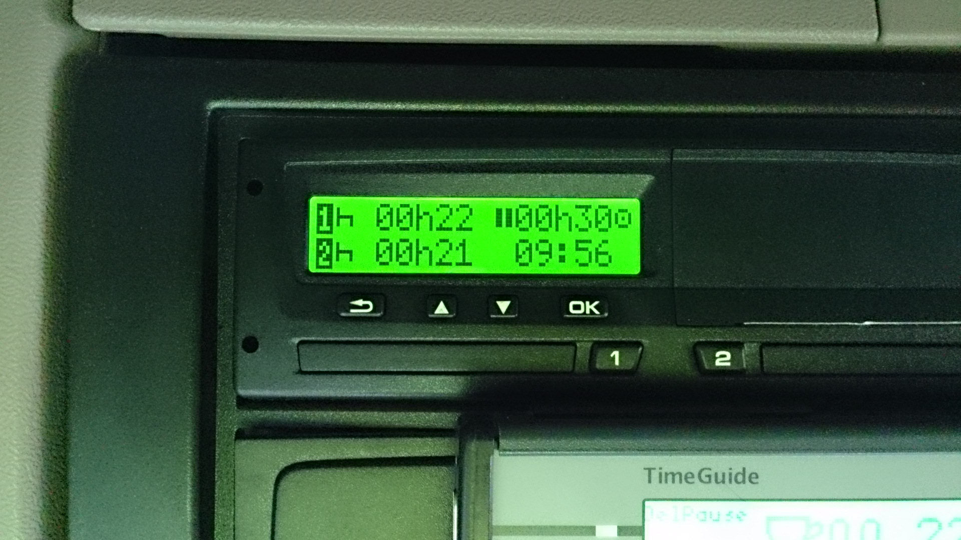 Scania Dash - above driver, Tachograph